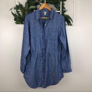 L.L. Bean Blue Linen Button Up Tunic Dress